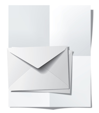Folded paper sheet and envelopes. Vector illustration