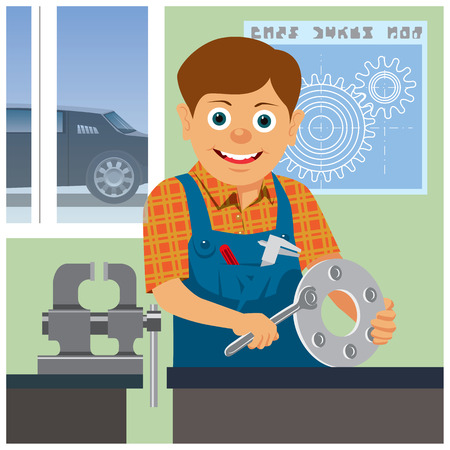 Workman of a car service station at work. Vector illustration Banco de Imagens