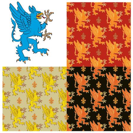 神話上の動物 -、グリフィンの紋章図。シームレスなテクスチャ、グリフィンズの画像を含みます。ベクトル図 写真素材