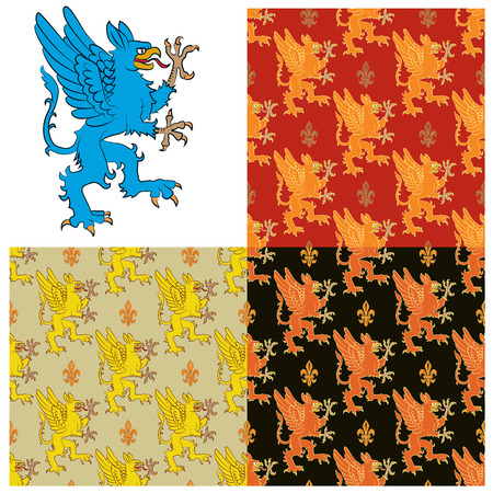 mythical: Heraldic figure of a mythical animal - a griffin. Seamless texture containing images of the griffins. Vector illustration Stock Photo