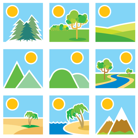Stylized images of landscapes. Vector illustration Banco de Imagens