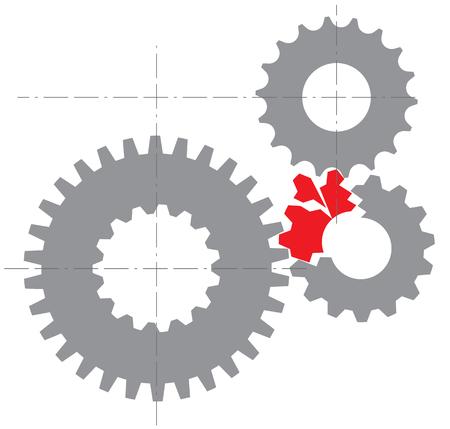 壊れたメカニズムの様式化されたイメージ。ベクトル図