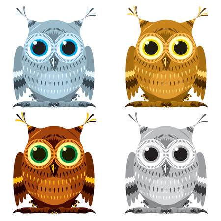 Images set of owls: Vector illustration