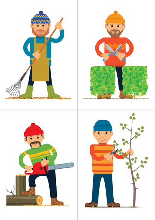 Set of personages working in garden or park. Vector illustration Banco de Imagens