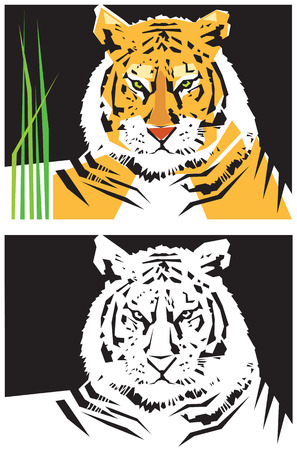 Stylized images of tiger. Vector illustration Banco de Imagens