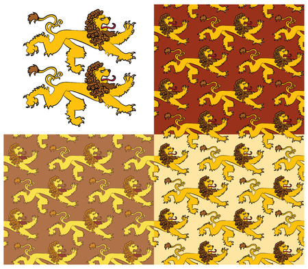 Heraldic figures of a lion. Seamless textures containing images of the heraldic lions. Vector illustration