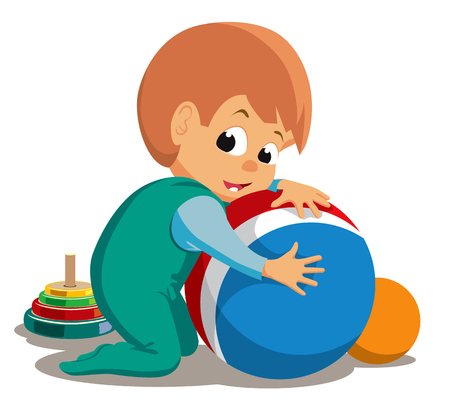 Kid plays with balls. Vector illustration Banque d'images