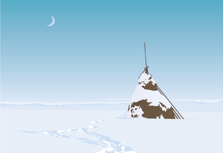 Lonesome haystack on a field in snowy winter. Vector illustration Banque d'images