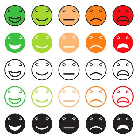 Icon set pour la désignation d'évaluer le niveau de satisfaction à certains contenus. Vector illustration isolé sur fond blanc Banque d'images - 55219461