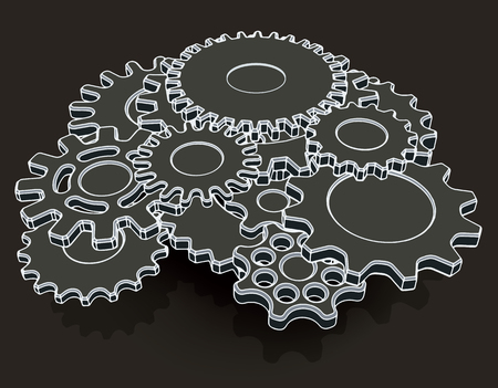 歯車から成る機構の様式化されたイメージ。ベクトル図