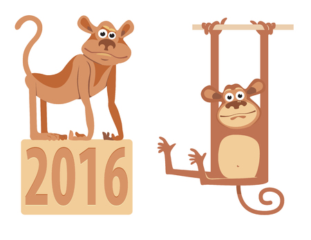 Images of monkeys in the cartoon style. Vector illustration