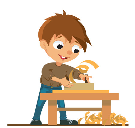 filings: A boy who doing carpentry work using a planer. Vector Illustration