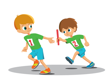 relay baton: Two boys involved in the relay. Vector Illustration