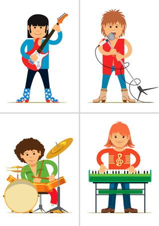 harmonist: Set of personages. Rock musicians. Vector illustration