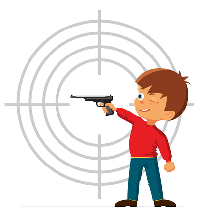 engaged: Boy is engaged in a sports pistol shooting. Vector illustration
