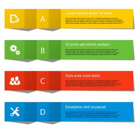 Set of infographics elements in the form of paper tapes for a variety of purpose. Vector Illustration