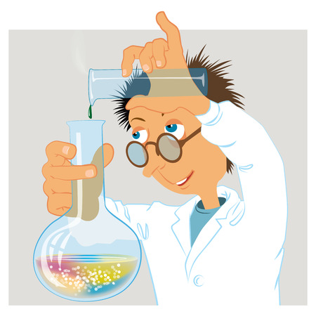 Funny scientist enthusiastically engaged in research work. Vector illustration Banco de Imagens