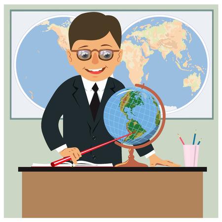 世界地図の背景に教室で地理の教師。ベクトル図