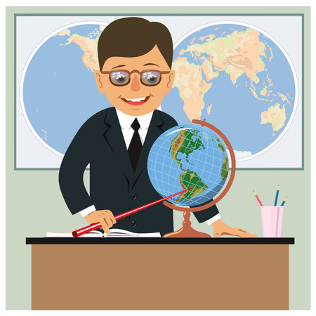 Geography teacher in the classroom on the background of the world map. Vector illustration Banque d'images