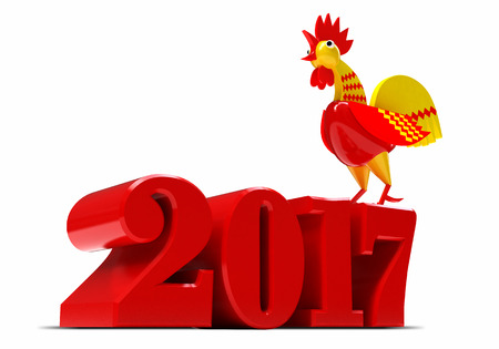 Happy New Year 2017. Year of the Rooster. 3d render