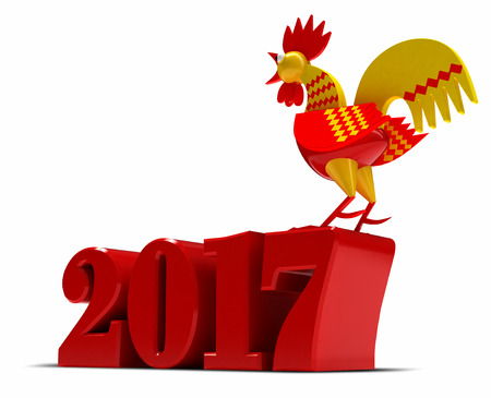 Happy New Year 2017. Année du Coq. 3d render Banque d'images - 66147739