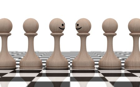 buddies: Two smiling chess figures among the another figures on white backgrounds
