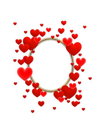 3d pictures: The frame composed of red hearts on a white background