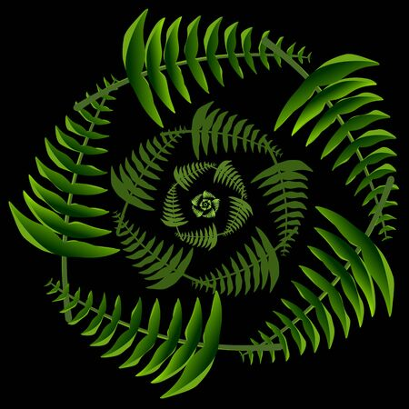 Tropical leaves lying in the shape of a wreath recursively repeat themselves and shrink so that when you move away, the whole picture resembles a flower.