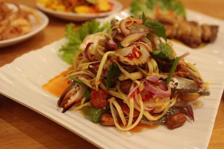 Somtum Delicious Thai Food Stock Photo