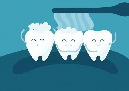 치아와 칫솔 일러스트
