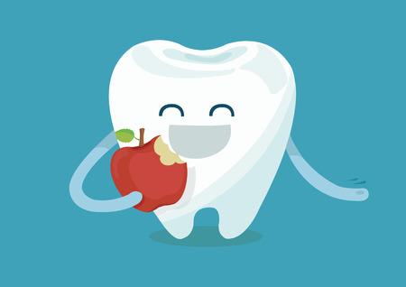 dientes caricatura: Diente que come la manzana