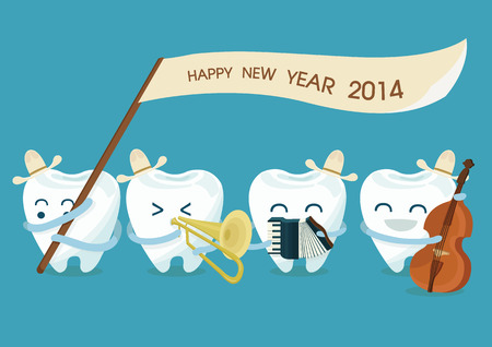 Happy new year dentist Stock Vector - 26622125