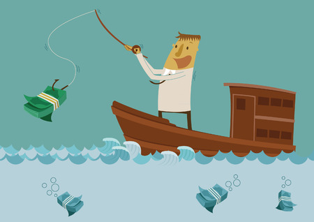 millionaire: Businessman fishing for money Illustration