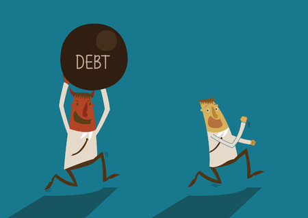 financial obstacle: Businessman running away from debt of devil