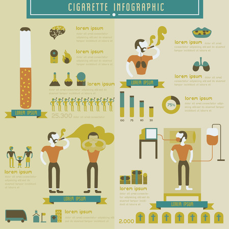 Cigarette and smoking info graphic Vector