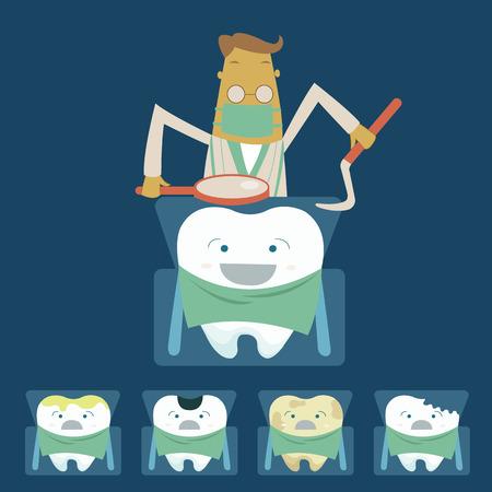 практика: Стоматолог рассматривает зубы пациента на стоматологическом кресле сек Иллюстрация