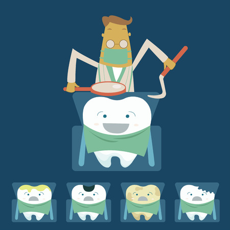Dentist examines teeth of the patient on the dentist s chair Vector