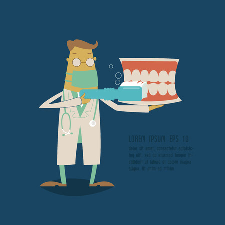 Dentist holding a teeth model and toothbrush Vector