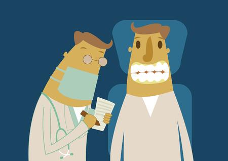 Patient with dentist in a dental treatment Illusztráció