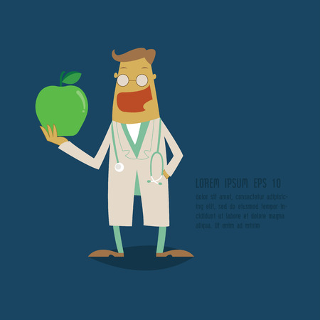smock: Dentist holding a green apple