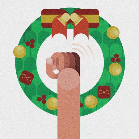tocar la puerta: Puerta de golpe de mano, corona de navidad con la cinta roja decoraci�n del arco aislado por concepto de Navidad