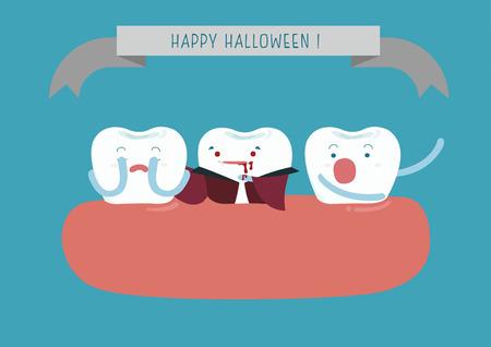 pediatric: Hallo Halloween of dental Illustration