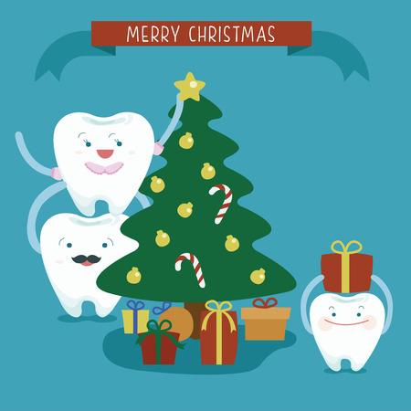 dientes: Familia Feliz Navidad dental Vectores