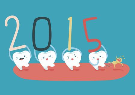sorridente: Anos novos felizes de dental Ilustração