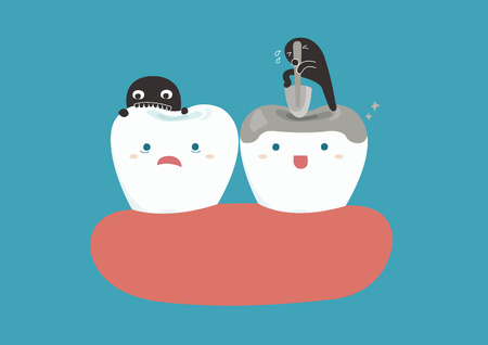 abscess: Bacteria breaking teeth