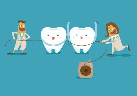 dentist take dental floss