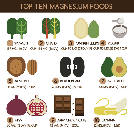 magnesium: Top ten magnesium foods vector Illustration