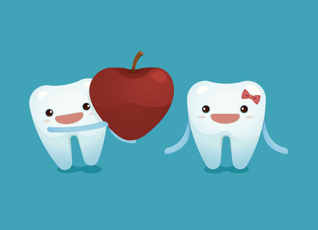abstract tooth: Tooth boy provide a heart apple for tooth girl on valentines day
