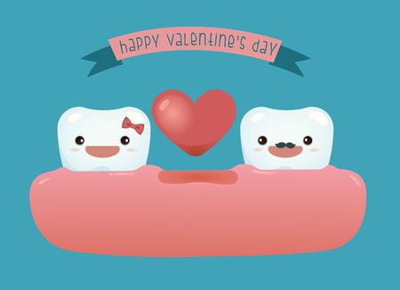 dientes sucios: Día de dental de san valentín feliz