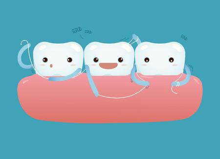 ヘルスケアのためのデンタルフロスで歯  イラスト・ベクター素材